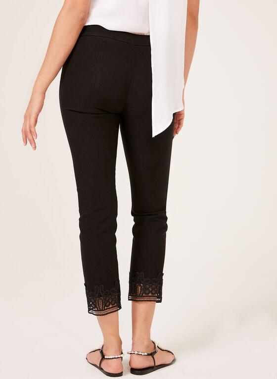 Pantalon pull-on à jambe étroite et ourlet en crochet, Noir, hi-res