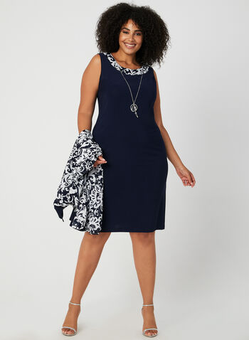 Sleeveless Dress & Mesh Jacket, Blue, hi-res
