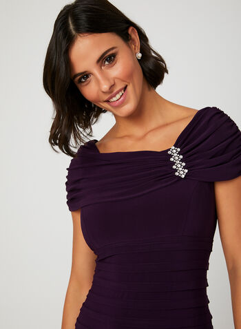 Embellished Neck Shutter Dress, Purple, hi-res