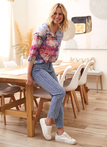 Striped Slim Leg Jeans, Blue,  spring summer 2021, made in canada, jeans, denim, pants, narrow, slim leg, stripes, print, pattern, pockets, mid-rise, fitted