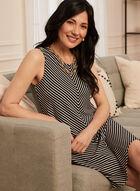 Stripe Print Trapeze Dress, Black