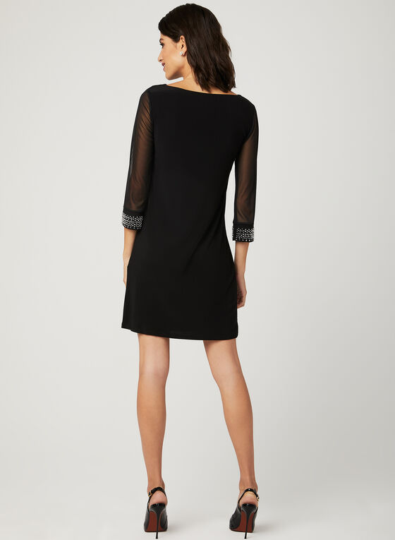 Embellished Mesh Sleeve Dress , Black, hi-res