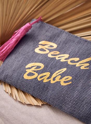 Tassel Detail Slogan Straw Clutch, Blue,