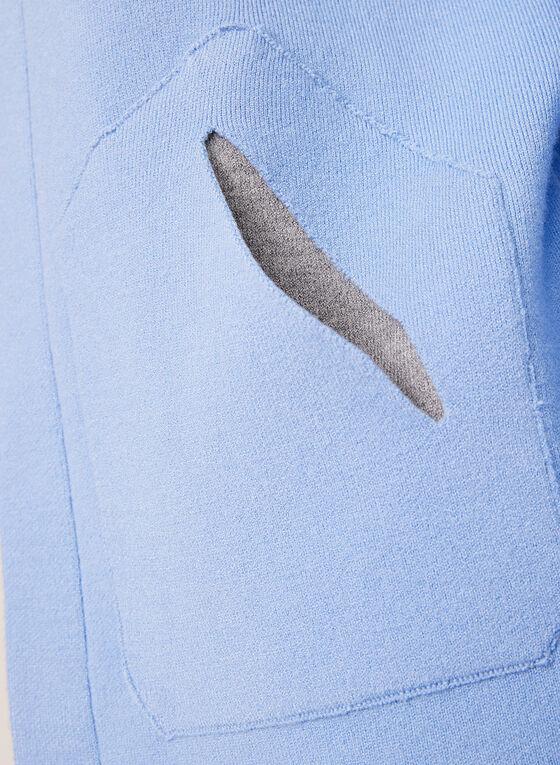 Elena Wang - Cardigan ouvert en tricot, Bleu, hi-res