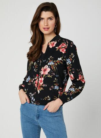 Floral Print Bomber Jacket, Black, hi-res