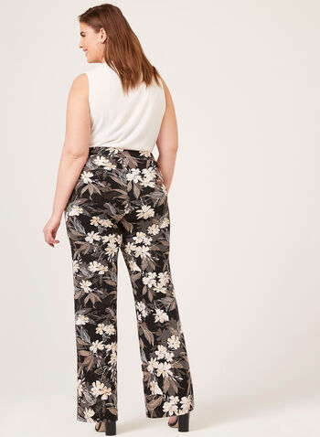 Wide Leg Pull-On Floral Print Pants, Black, hi-res