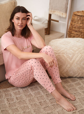 T-shirt de pyjama avec texte imprimé, Multi,  pyjama, t-shirt, encolure arrondie, manches courtes, ourlet arrondi, texte imprimé, métallique, automne 2021, mix and match