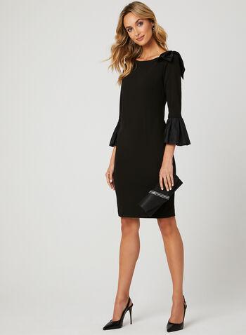 Bell Sleeve Crepe Dress, Black, hi-res
