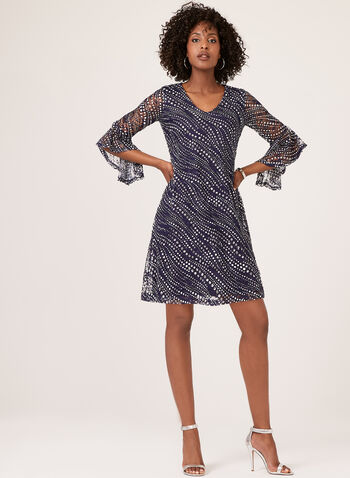 Geometric Print Lace Dress, Blue, hi-res