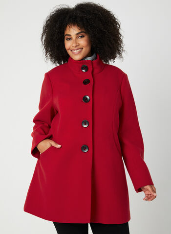 Wool Like Coat, Red,  fall winter 2019, wool, coat, a-line