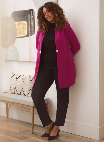 Metallic Detail Redingote, Purple,  jacket, redingote, metallic, ponte di roma, pockets, fall winter 2020