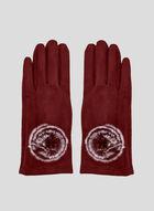 Mink Pompom Faux Suede Gloves, Red, hi-res