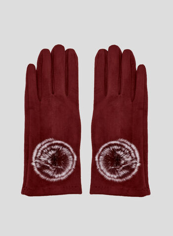 Mink Pompom Faux Suede Gloves, Red, hi-res