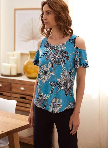 T-shirt fleuri à épaules ajourées, Bleu,  t-shirt, fait au canada, encolure arrondie, manches courtes, épaule ajourées, motif, floral, printemps été 2021
