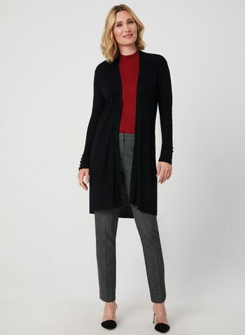 Cardigan long ouvert en tricot côtelé, Noir, hi-res,  cardigan, long, ouvert, manches longues, tricot côtelé, automne hiver 2019