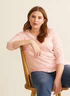 3/4 Sleeve Crochet Lace Top, Pink