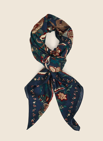 Floral Print Square Scarf, Blue,  scarf, square, floral, fall winter 2020
