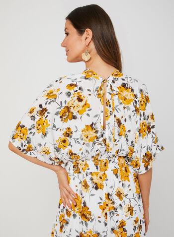 Floral Print Maxi Dress, White, hi-res,  short sleeves, elbow sleeves. kimono sleeves,