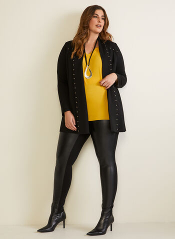 Studded Open Front Cardigan, Black,  fall winter 2020, cardigan, one front, long sleeves, studs, studded