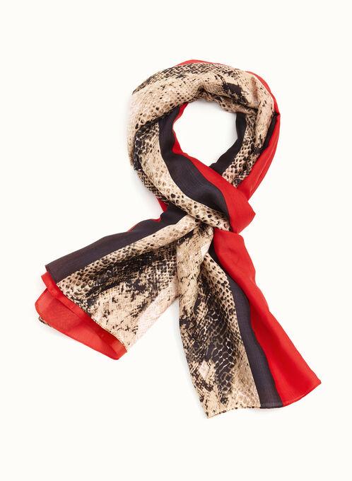 Foulard à rayures et motif serpent, Rouge, hi-res