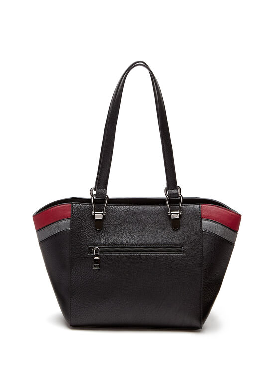 Contrast Stripe Tote Bag, Black, hi-res