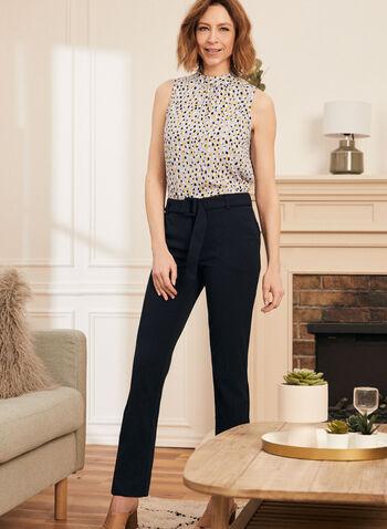 Pantalon à jambe étroite ceinturé , Bleu,  pantalon, jambe étroite, ceinture, poches, coupe cheville, crêpe, printemps été 2021