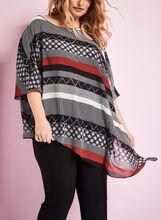 3/4 Sleeve Multi Print Poncho Blouse, Black, hi-res