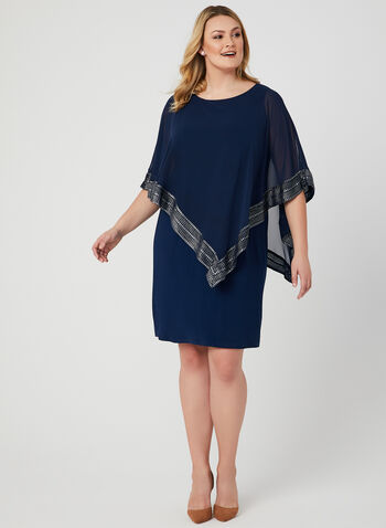 Metallic Trim Poncho Dress, Blue, hi-res