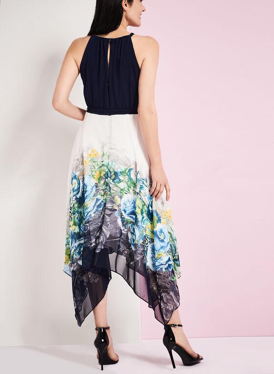 Floral Print Shark Bite Hem Dress, Blue, hi-res
