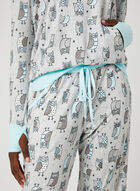 Pillow Talk - Owl Print Pyjama Set , Grey, hi-res