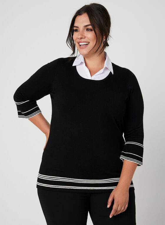 ¾ Sleeve Fooler Sweater, Black