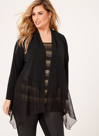 Open Front Crepe Cardigan , Black, hi-res