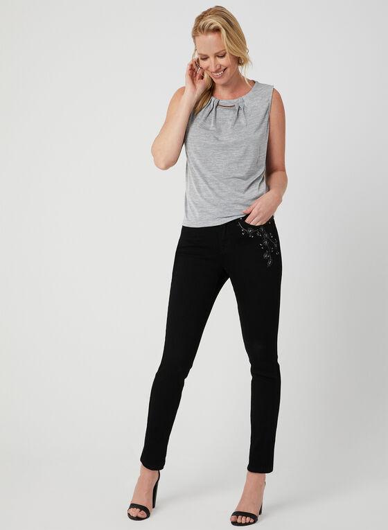 Textured Sleeveless Top, Black