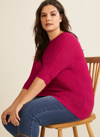 Dolman Sleeve Pullover , Pink,  pullover, sweater, knit, yarn knit, 3/4 sleeves, dolman sleeves, spring 2020, summer 2020
