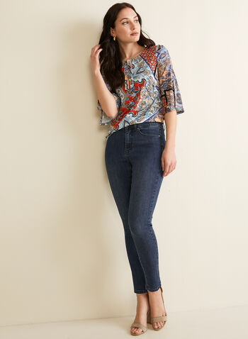 Paisley Print Tie Detail Top, Blue,  top, scoop neck, 3/4 sleeves, tie, keyhole, paisley, medallion, stretchy, jersey, spring summer 2020