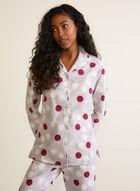 Large Polka Dot Print Pyjama Set, Grey