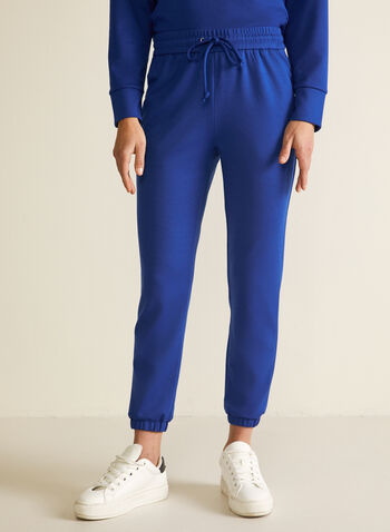 Pull-On Jogger Pants, Blue,  pants, pull-on, jogger, drawstring, straight leg, ponte di roma, fall winter 2020