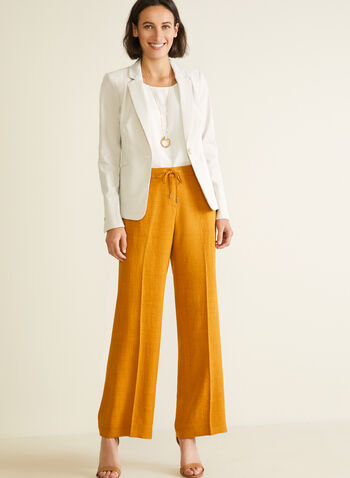 Modern Fit Wide Leg Pants, Yellow,  pants, pull-on, modern, wide leg, pockets, spring summer 2020