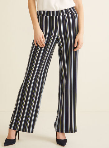 Striped Wide Leg Pants, Blue,  pants, pull-on, wide leg, high rise, jersey, modern fit. striped, spring summer 2020