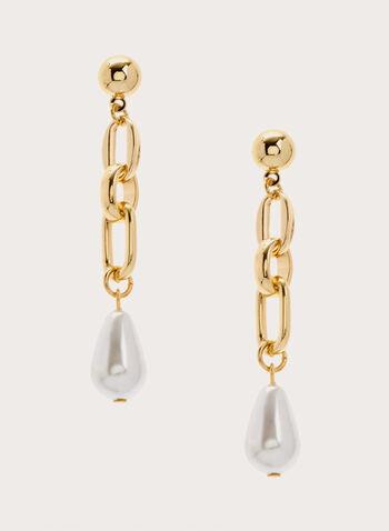 Boucles d'oreilles à pendants chaîne et perle, Blanc cassé, hi-res