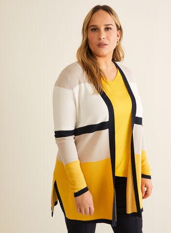 Cardigan ouvert à blocs de couleurs, Multi,  printemps été 2020, cardigan, ouvert, manches longues, blocs de couleurs, tricot