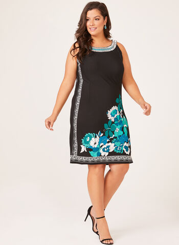 Sleeveless Cleopatra Neck Shift Dress, Black, hi-res