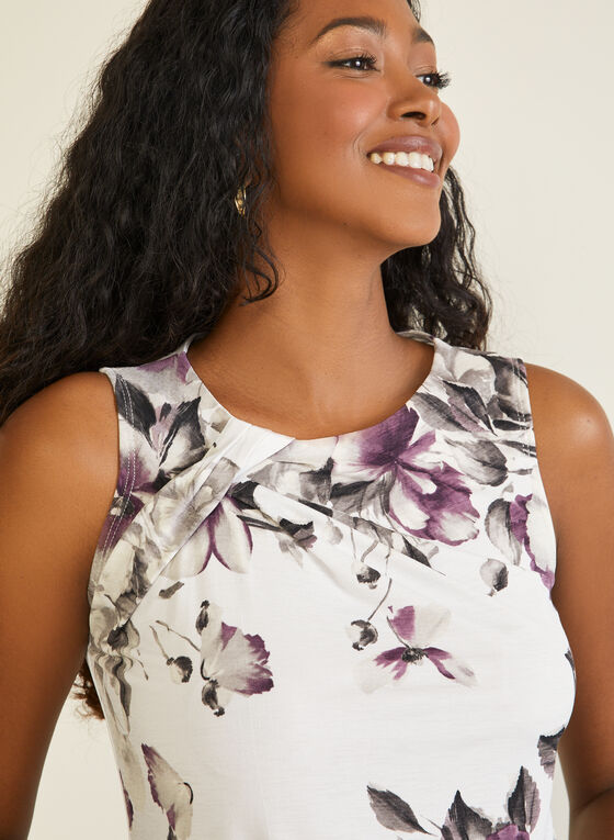 Floral Print Sleeveless Top, White