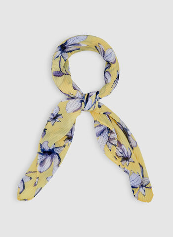 Floral Print Pleated Scarf, Gold, hi-res