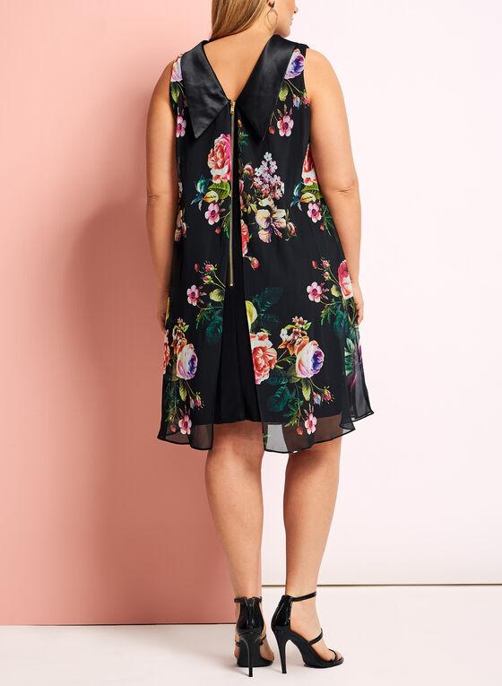 Floral Reverse Collar Trapeze Dress, Black, hi-res