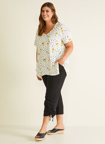 Dot & Flower Print Top, White,  top, floral, dotted, short sleeves, scoop neck, crepe, spring summer 2020
