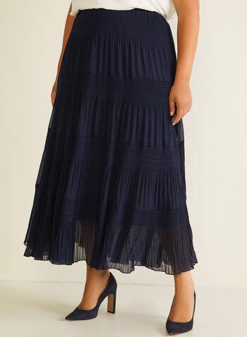Alison Sheri - Jupe paysanne en mousseline, Bleu,  jupe, maxi, paysanne, pois, pull-on, mousseline, printemps été 2020