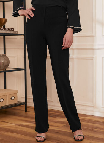 Straight Leg Pleated Pants, Black,  pants, straight leg, pleats, spring summer 2021