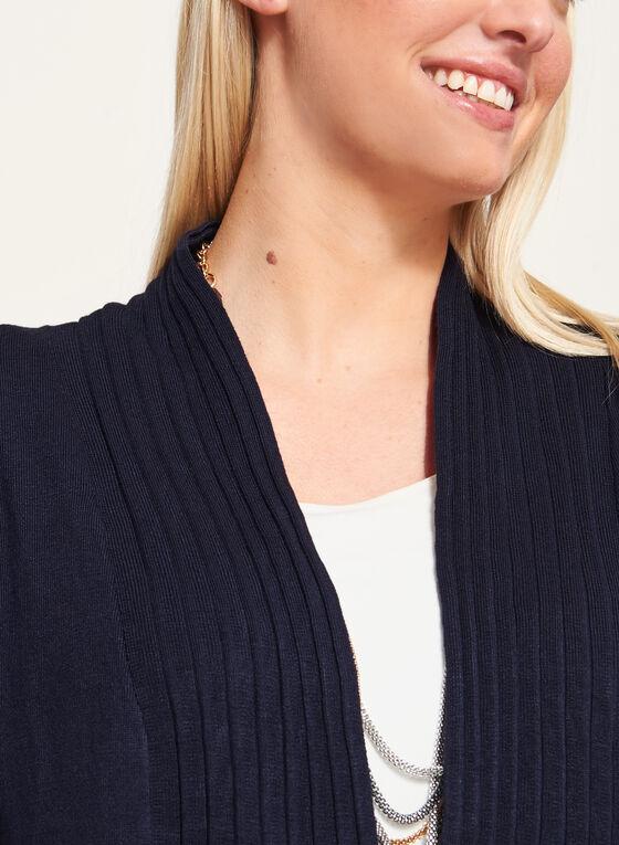 Cardigan ouvert à col plissé, Bleu, hi-res