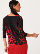 3/4 Sleeve Animal Print Blouse , Black, hi-res